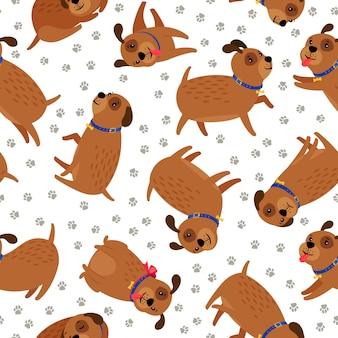 子犬のシームレスなパターン。ペットの足跡とかわいい面白い犬動物キャラクター