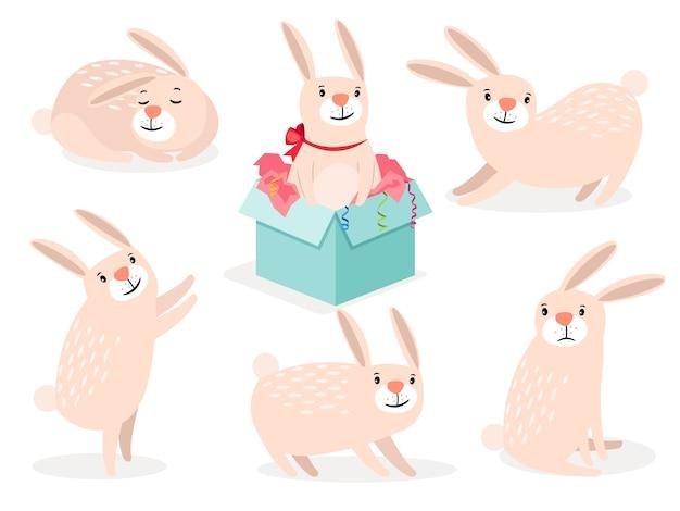 ウサギのキャラクター。面白い漫画かわいいイースターバニーベクトル動物の分離