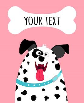 Поздравительная открытка с лицом счастливой далматинской собаки и место для текста на розовом