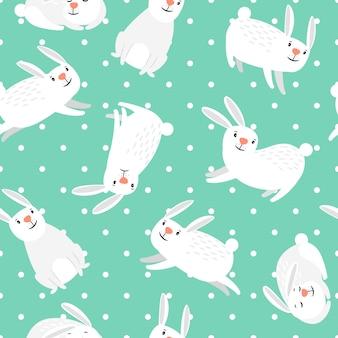 ウサギの模様。緑ベクトルイースターシームレスパターンの白ウサギ