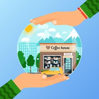 コーヒーハウスの施設を開くためのビジネスコンセプト。女性がガラス玉を保持しています