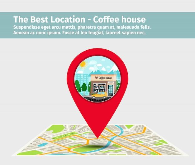 最高のロケーションのコーヒーハウス