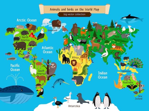 Карта мира животные