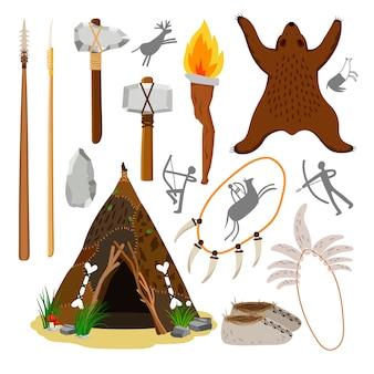 原始的な穴居人の要素