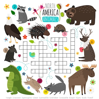 動物のクロスワード。北アメリカの動物セット、単語検索パズルゲームと子供の言葉の頭の体操