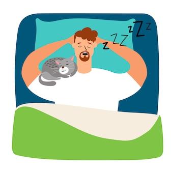 猫とベッドで寝ている男