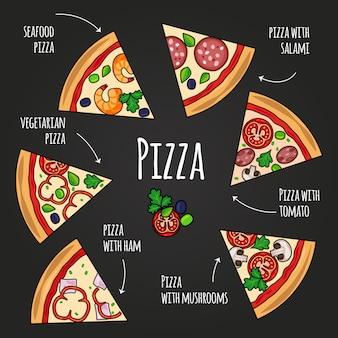 ピザのスライス。黒板のピッツェリアメニュー。テキストセットとカラフルなピザスライスアイコン