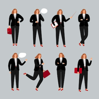 Предприниматель характер. молодая женщина профессионал, деловая женщина, стоя, позвонив по телефону и указывая позы