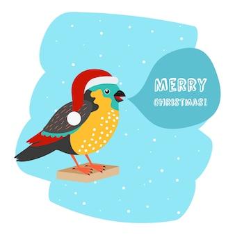 サンタ帽子クリスマス車テンプレートを持つ鳥