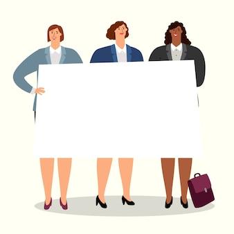 バナーを持つビジネス女性