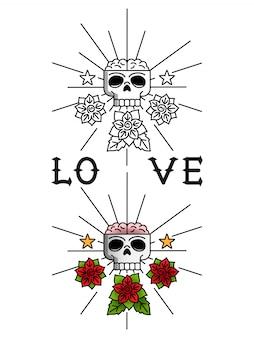頭蓋骨と花のタトゥー