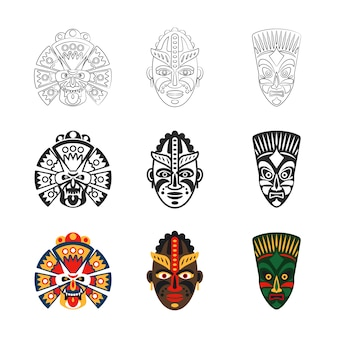 Набор иконок африканские маски