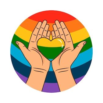 Руки и радужное сердце