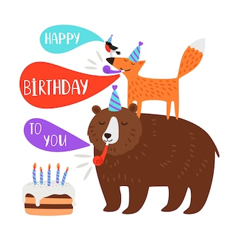 Детский день рождения, открытка с животными