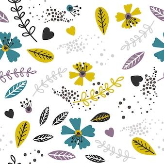 黄色とラベンダーの花柄