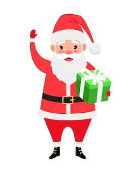 Санта и подарочная коробка