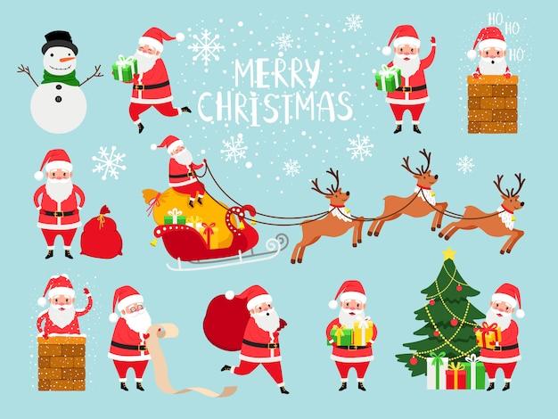 クリスマスのウェブサイトの装飾のためのかわいいベクトルサンタクロースの祖父