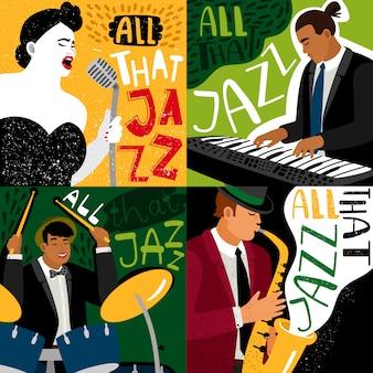 Баннеры джаз-бэнда играют на музыкальных инструментах