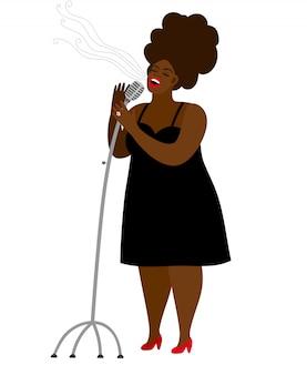 Женщина джазовой певицы с микрофоном, изолированная на белом