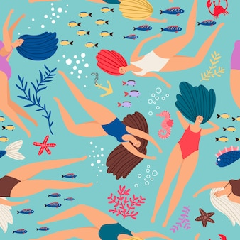 Пловцы девушки с подводным рисунком с цветными рыбками