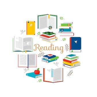 Чтение концепции с изометрическим стилем книги векторные иконки