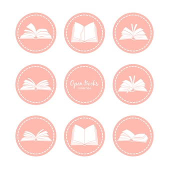 開いた本とビンテージのアイコン。読書ベクトルアイコンを設定