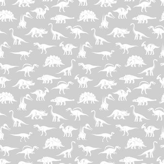 Белые силуэты разных динозавров вектор бесшовные модели