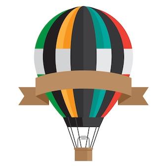 リボンバナー-白い背景に分離されたベクトル熱気球とビンテージスタイルのエアロスタット