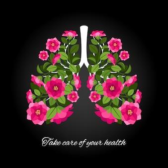 Заботиться о своем здоровье. человеческие легкие цветущие цветы