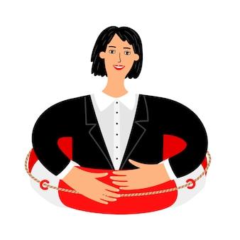 ビジネス救命浮輪、保険の概念
