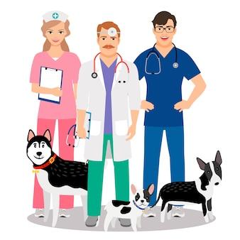 平らな獣医と犬