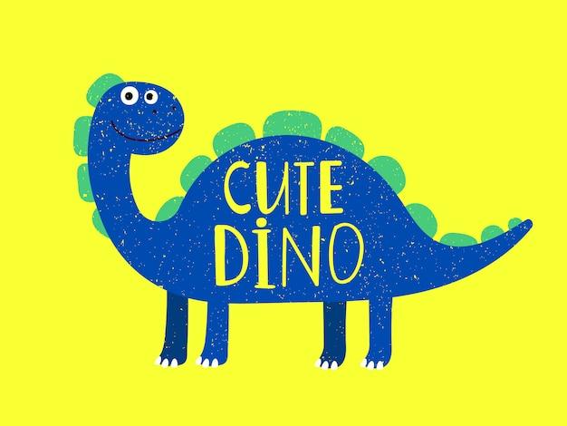 Мультяшный милый динозавр на желтом