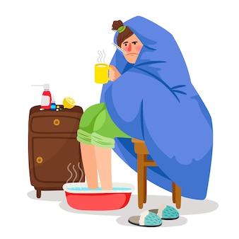 Больная женщина в одеяле иллюстрации