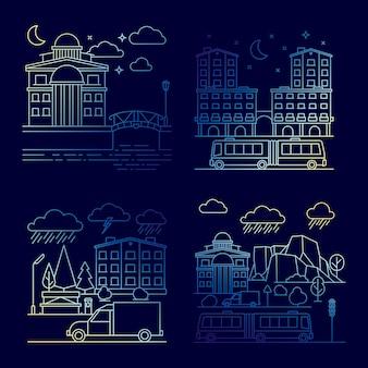 Линия ночной городской пейзаж набор