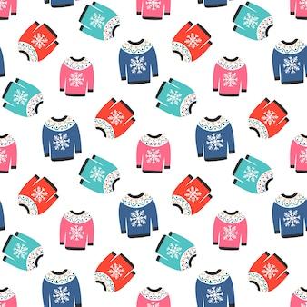 Зимние теплые цветные свитера в бесшовные