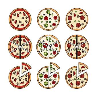 ピザのスライスとピザ