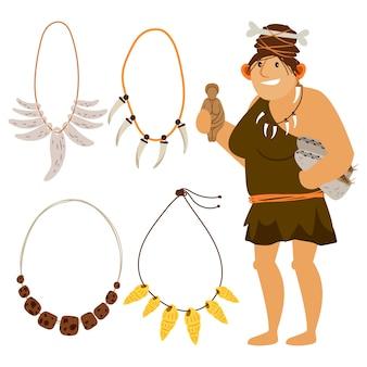 石器時代の漫画の女性のショッピング