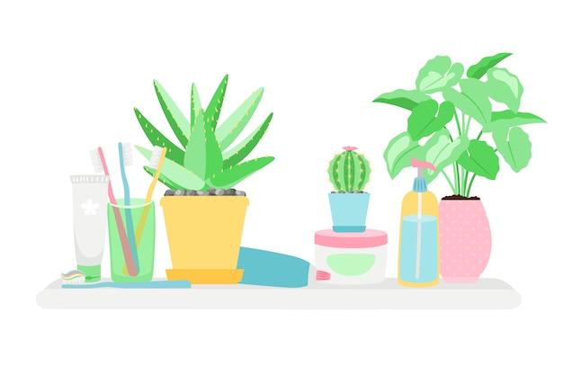 Полка в ванной комнате с растениями и предметами гигиены на белом фоне