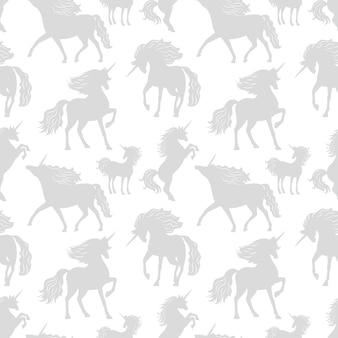 Лошади единороги серые силуэты бесшовные модели