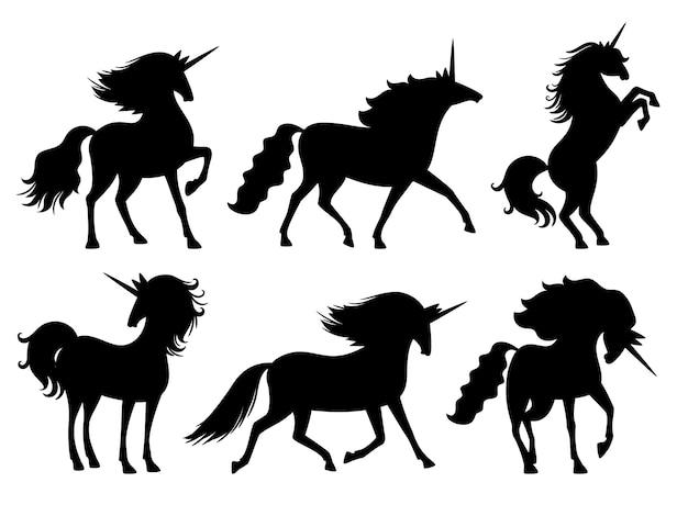 Единорог силуэты. векторный набор единорогов силуэт, изолированных на белом, загадочное животное лошадь, милый лошадиный миф дух черный украшения записки