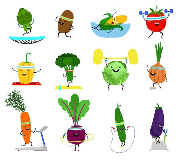 Овощи спортивные персонажи. смешные оздоровительные растительные продукты со смеющимися лицами в спортивных упражнениях, морковь брокколи, огурец из желтого перца