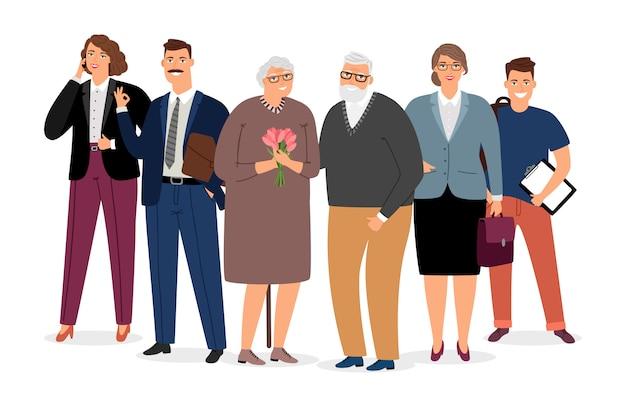 家族イラストに囲まれた老夫婦