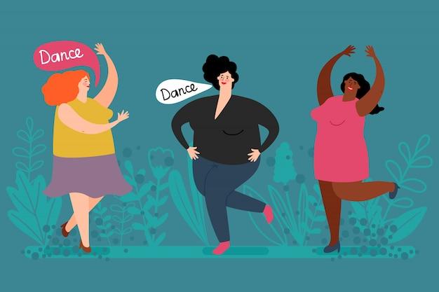 幸せな肉付きの良い女性ダンスベクトル。かわいい脂肪の女性と植物のイラスト