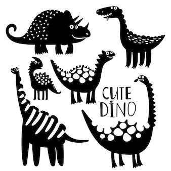 セットの黒と白の恐竜