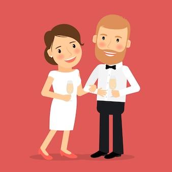 ロマンチックなカップルのアイコンを祝う