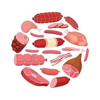 Круглое мясо. курица, салями, колбаса и свежее мясо на белом фоне