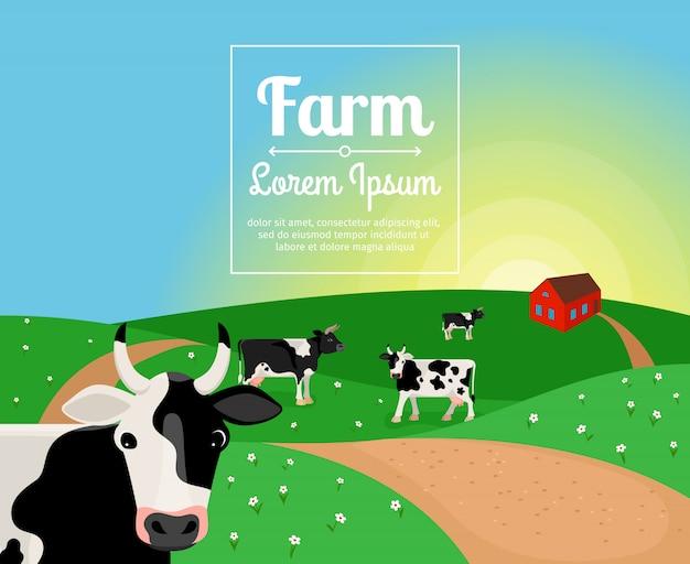 Сельский или фермерский пейзаж с коровами и деревенским домом