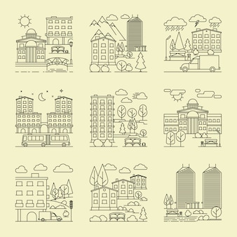 Городские пейзажи линейного стиля