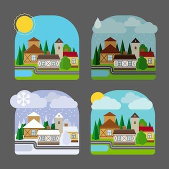 フラットスタイルの小さな町の風景