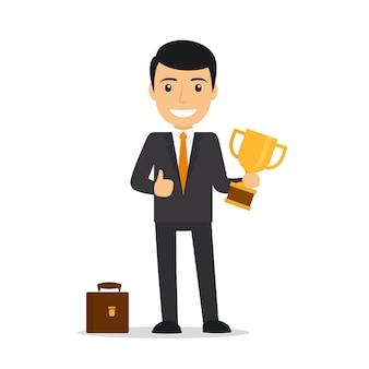 Бизнесмен держит трофей